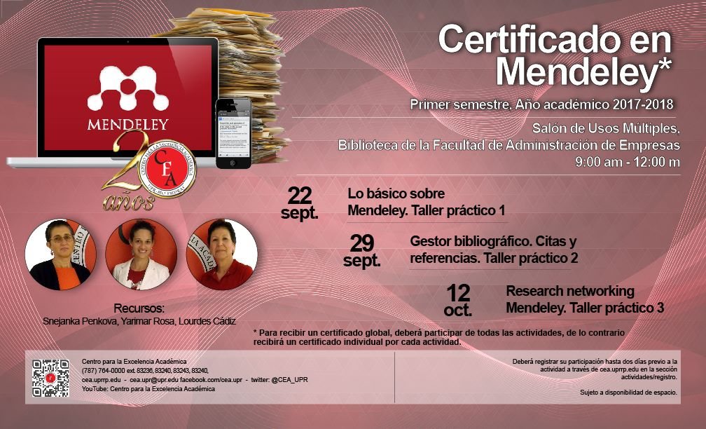 Talleres de Capacitación y Desarrollo: Certificado en Mendeley @ Salón de Usos Múltiples ( Facultad de Administración Empresas) | Heroica Puebla de Zaragoza | Puebla | Mexico