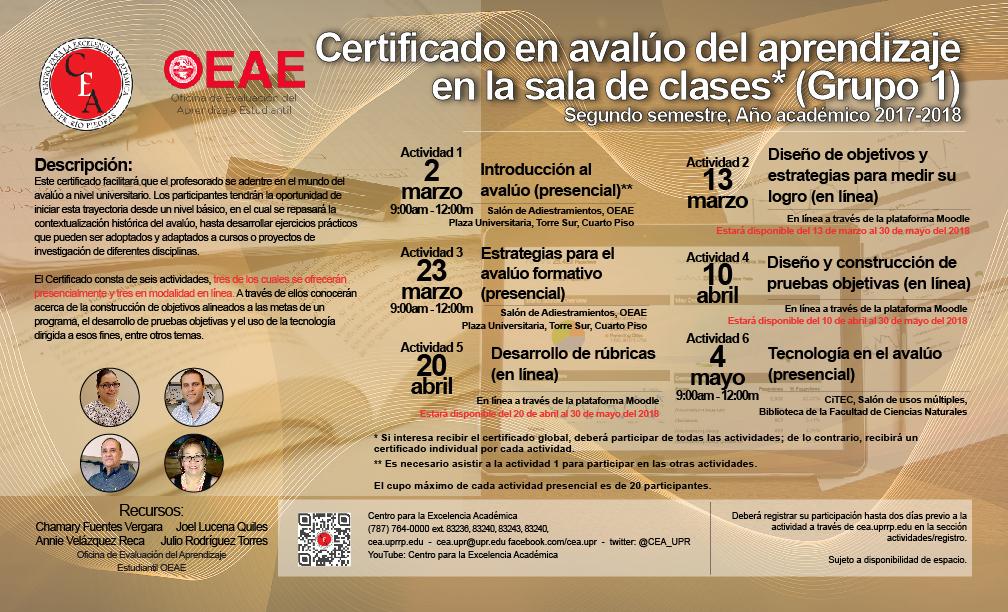 Certificado en el avalúo del aprendizaje en la sala de clases (Grupo 1)