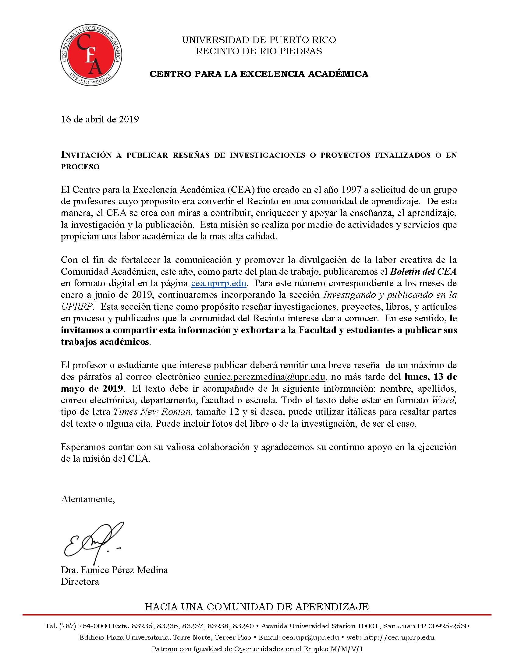 Carta de invitacion investigando
