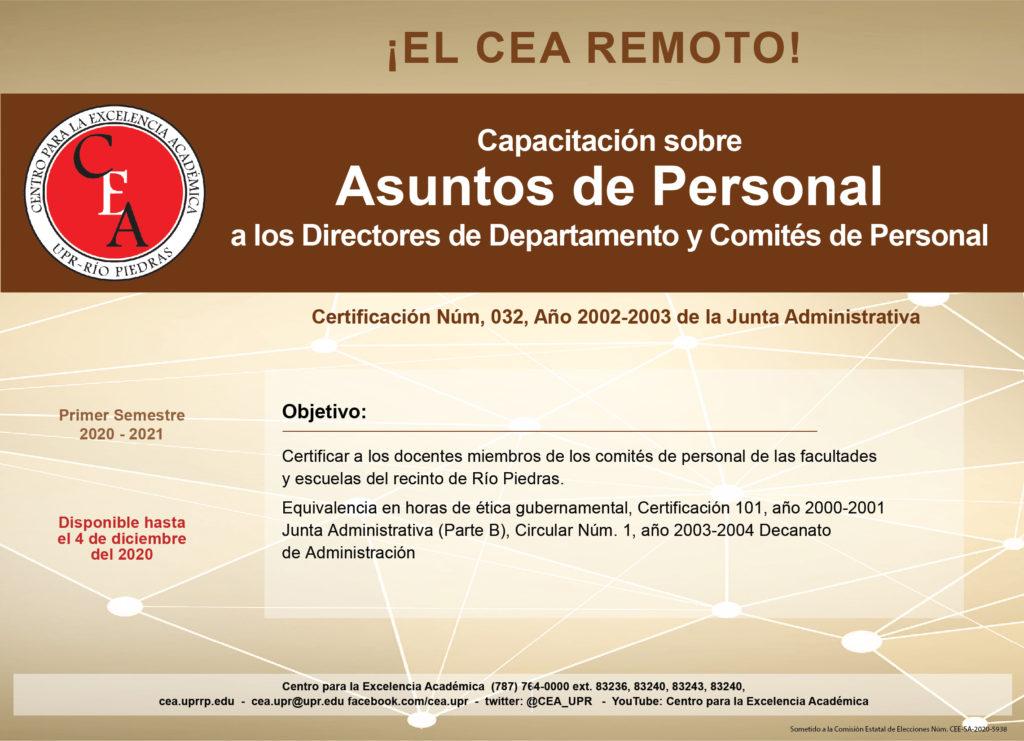 capacitación sobre asuntos de personal a los directores de departamentos y comités de personal