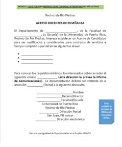 Modelo 2: Texto corto en periódico local con enlace a página web del RRP