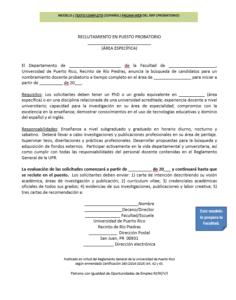 Modelo 3: Texto completo (español) página web del RRP (probatorio)