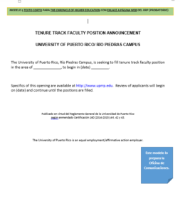 Modelo 5: Texto corto para The Chronicle of Higher Education con enlace a página web del RRP (probatorio)