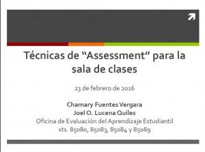 """Técnicas de """"Assessment"""" para la sala de clases"""